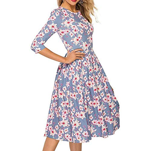 Women Floral Frinted Mid Sleeve Empire Waist Dresses Round Neck Flared Pleated Midi Dress with Pocket (Blue, S)