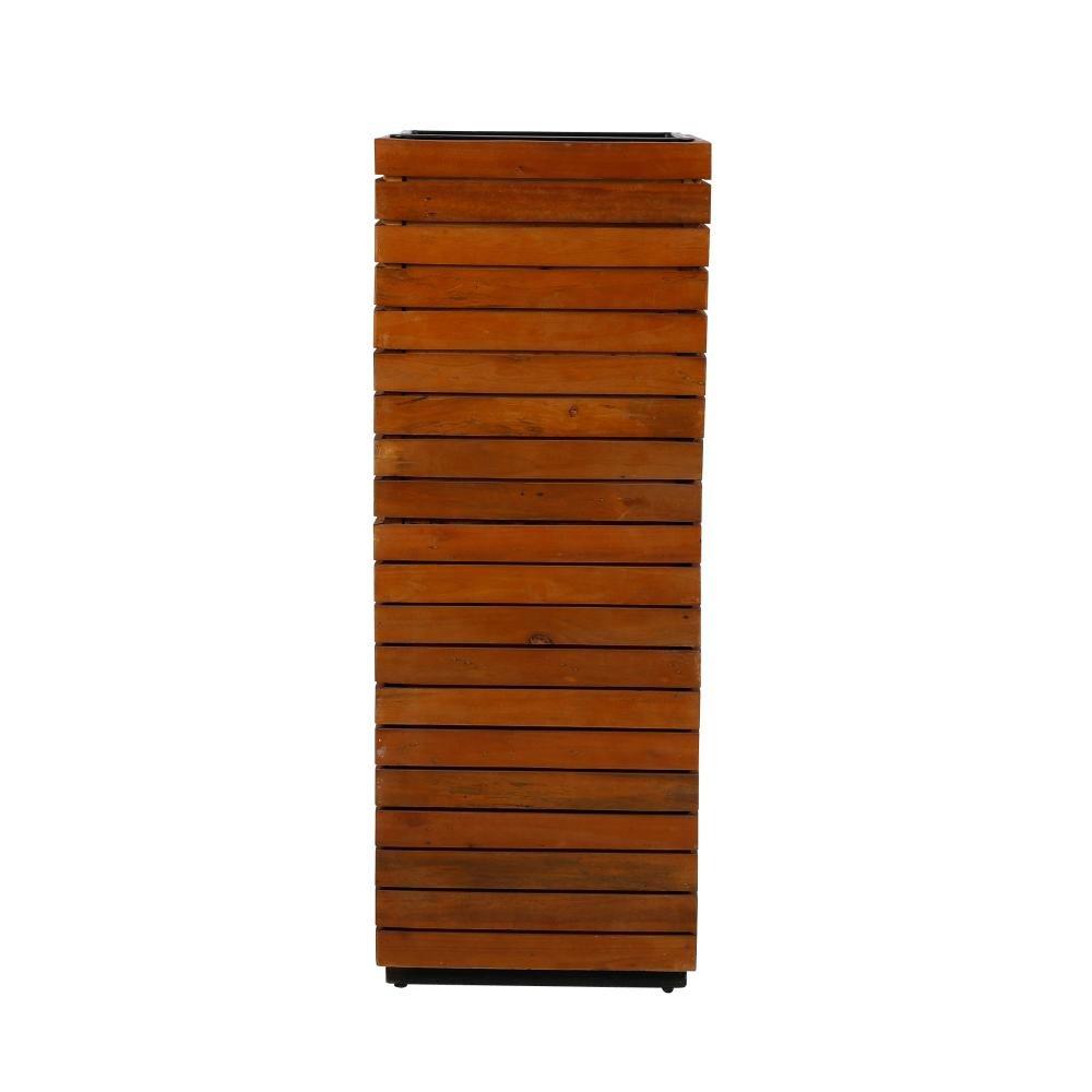 greemotion 3 Stück Pflanzsäule, recyceltes Akazienholz, 43,5 x 43,5 x H115 cm, herausnehmbarer Einsatz, in-/outdoorgeeignet, Pflanztopf geölte Optik