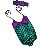 Girl's One Piece Mermaid Bikini Set Swimwear Swimsuit Bathing Suit+Headband, 4T/5 (Size 120), Purple and Green