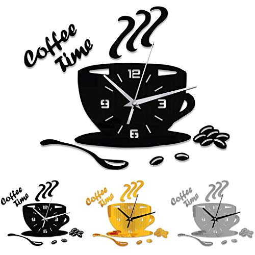 (Button cotton Mute Waterproof Coffee Cup Shape Quartz Wall Clock Home Decorative Clock Wall Clocks)