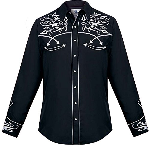 Arms Black 43' (Modestone Men's Embroidered Long Sleeved Fitted Western Shirt Filigree Black S)