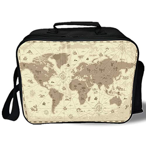 Map 3D Print Insulated Lunch Bag,Aged Retro Styled Map of the World with Mountains Fantasy Monsters and Compass Decorative,for Work/School/Picnic,Sepia Light Yellow