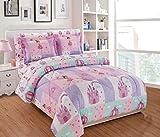 Fancy Linen 7pc Queen Comforter Set Princess Castle Fairy Tales Pink Lavender White Aqua New