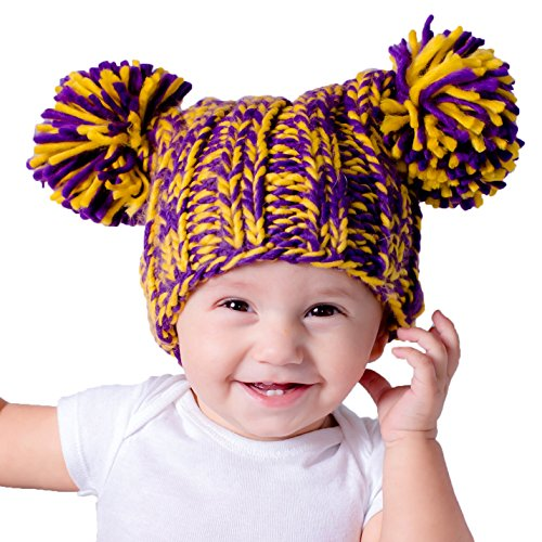 Huggalugs Baby Toddler & Adult Purple Gold Team Spirit Pom Pom Beanie Hat M