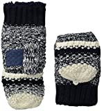 Isotoner Women's Sherpasoft Striped Popcorn Stitch Flip Top Mitten with Suede Palm Patch, Navy, One Size