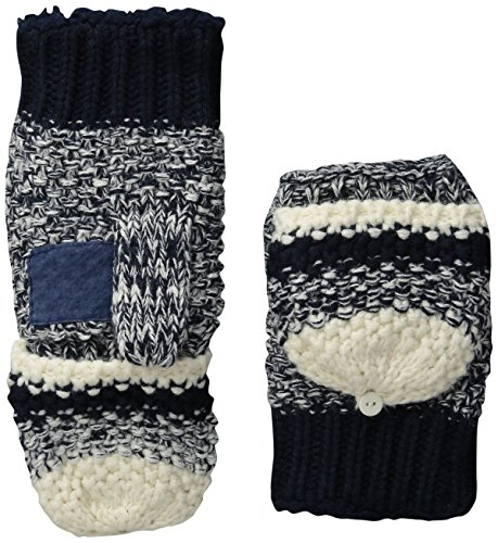 Isotoner Women's Sherpasoft Striped Popcorn Stitch Flip Top Mitten with Suede Palm Patch, Navy, One Size by ISOTONER (Image #1)