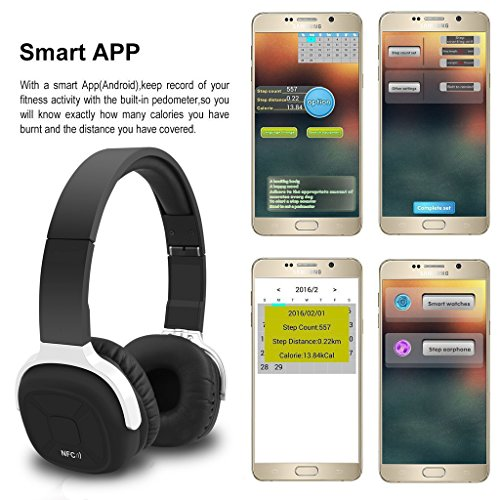 bluetooth headphones fuleadture wireless v4 1 nfc stereo sport over ear headphone headset with. Black Bedroom Furniture Sets. Home Design Ideas