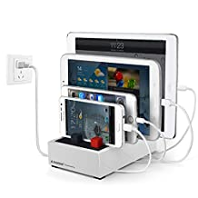 Avantree Desktop Multiple Devices USB Charging Station (Apple Cable NOT Included) 4 Port 8A Fast Charger Docking with Cable Management for iPhone iPad Tablets - PowerHouse Plus White