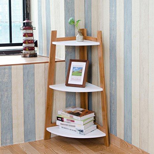 (QIANGDA Corner Bookshelf 3 Tiers Bookrack Flower Shelf Storage Rack Commodity Shelf, 37 X 37 X 84cm)