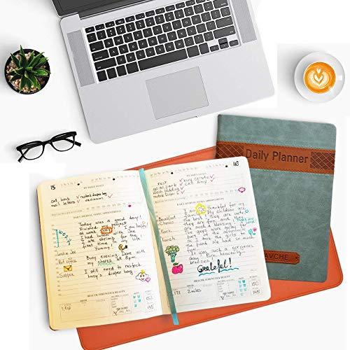 ALSAVCHE Daily Planner, All in One, Organizer, Journal, 5.5x7.5, Blue, Brown