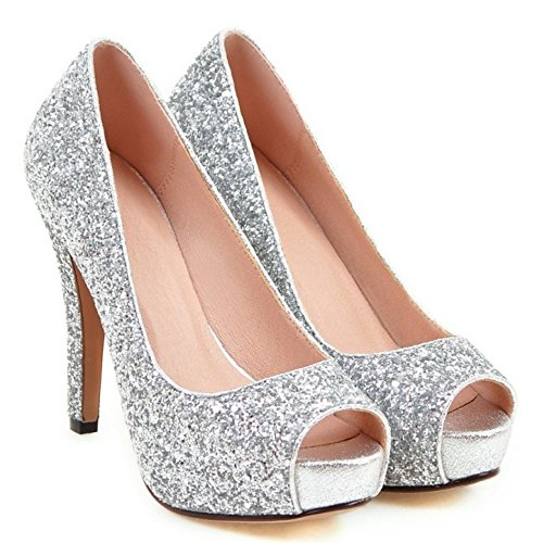 Stiletto COOLCEPT Silver Pumps Toe Peep Shoes Slip Court On Shoes Fashion Women wp4wqAU