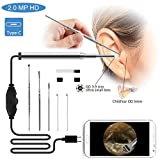 Ear Otoscope Cleaning Endoscope Camera 3.9mm Small Lens 2.0 Mega Pixel 720P HD  Borescope Inspection Camera Otoscope Visual Earpick Tool with 6 Adjustable Led for Type-C