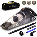 MalRom Car Vacuum Cleaner - Car Vacuum High Suction Power 4.3 KPa Handheld Portable Auto Detailer Wet Dry - Pet Hair - Upholstery - Power Cord 16.7 ft (5m) - Incl.Extra Filter and Replaceable Fuse