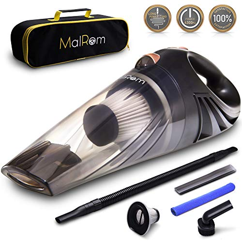 MalRom MS 2018 Black Color Cleaner-Car Vacuum High Suction 4.3 KPa Handheld Portable Auto Detailer Wet Dry-Pet Hair-Upholstery-Power Cord 16.7 ft (5m) -Incl.Extra Filter and Replaceable Fuse
