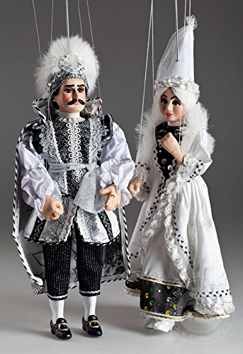Black-and-White-Couple-Marionettes-Handmade-String-Puppets