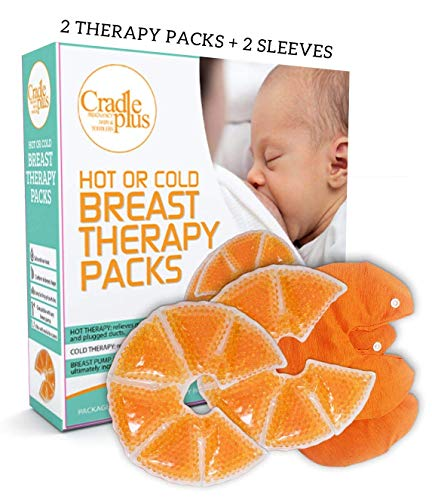Breast Therapy Pack | Cold or Hot Gel Packs for Breastfeeding Relief | Soothing Mastitis Engorgement Swelling | Nursing Pain Relief Pads | Increase Milk Production | 2 Therapy Packs + 2 Sleeve Cover