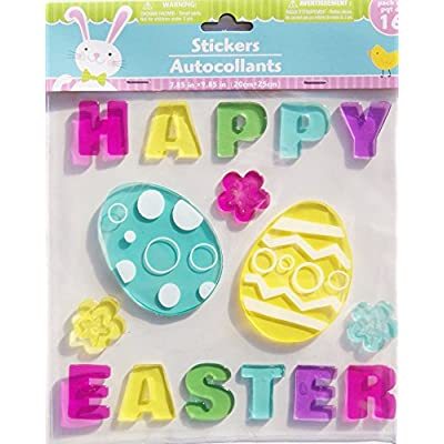 Happy Easter Eggs and Flowers Gel Window Clings - 16 Piece: Home & Kitchen