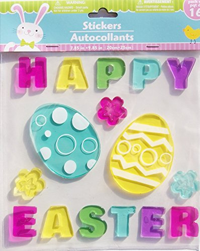 Happy Easter Eggs and Flowers Gel Window Clings - 16 Piece (Decorations Window Gel)