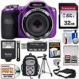 Minolta MN35Z 1080p 35x Zoom Wi-Fi Digital Camera (Purple) with 32GB Card + Backpack + Flash + Tripod + Strap + Kit