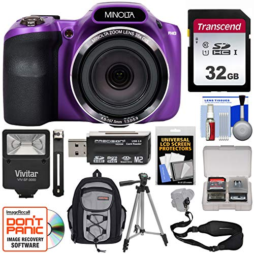 Minolta MN35Z 1080p 35x Zoom Wi-Fi Digital Camera (Purple) with 32GB Card + Backpack + Flash + Tripod + Strap + Kit