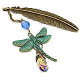Dragonfly and rainbow quartz gemstone point feather bronze metal unique bookmark