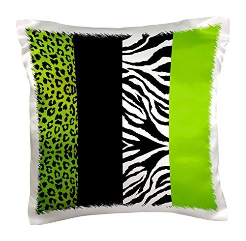 Lime Green Black and White Animal Print-Leopard and Zebra-Pillow Case, 16 by 16