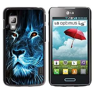 TopCaseStore / la caja del caucho duro de la cubierta de protección de la piel - Lion Blue Fire Burning Eyes Art Drawing - LG Optimus L5 II Dual E455 E460