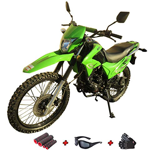250cc Dirt Bike Hawk 250 Enduro Street Bike Motorcycle Bike with Gloves, Sunglasses and Handgrip (Green)