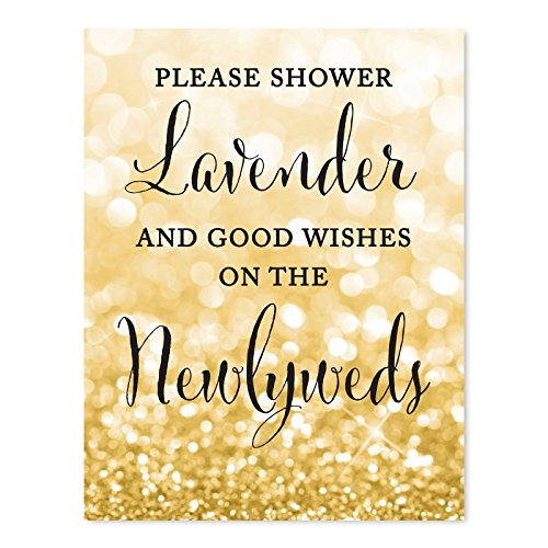 Andaz Press Wedding Party Signs, Glitzy Gold Glitter, 8.5x11-inch, Please Shower Lavender and Good Wishes on The Newlyweds, 1-Pack, Lavender Ceremony Exit Toss Sign ()