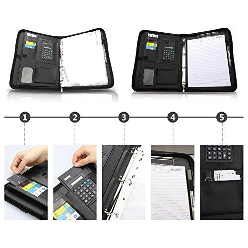 wilbest® porte documents en cuir multifonctionnel dossier de conférence de A4 avec la calculatrice et les poignées… 4