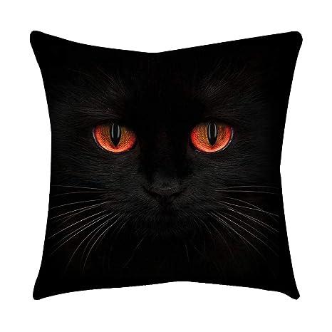 VJGOAL Moda Lindo Negro Ojos de Gato impresión en casa Decorativo Suave sofá cómodo Cojín Cuadrado Funda de Almohada(45_x_45_cm,Negro5)