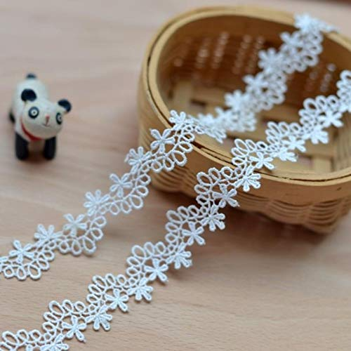 DHmart Milk White Water Soluble Embroidered lace Accessories DIY lace Clothing lace 2.3cm -