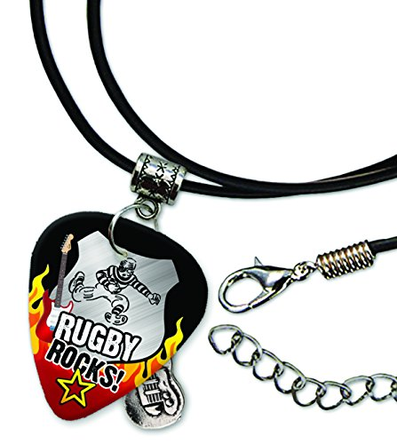 Rugby Rocks Rock Guitar Pick Leather Cord Necklace (R1) (Rocks Rugby)