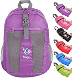 bago Lightweight Foldable Backpack for Travel and Sport - 25L Collapsible Daybag (Purple)
