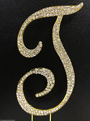 Crystal Rhinestone Covered Gold Monogram Wedding Cake Topper Letter T