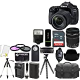 Canon EOS 80D 24.2MP Digital SLR Camera with Dual Pixel CMOS AF and EF-S 18-135mm F3.5-5.6 IS STM Lens Kit + SanDisk 64 GB Card and Reader + Case + Tripod + Flash + Spare Battery + Accessories Bundle