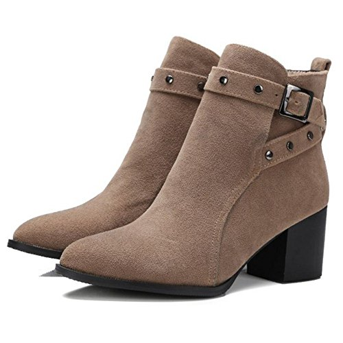 amp; Booties Fashion Size Plus Pointed Women Ankle apricot Boots Size Onewus Toe Mini 6EZx1Cq