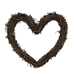 Heart Shape Natural Grapevine Wreath Ring Wreath DIY Craft Vines Base Grapevine Roll for Rustic Summer Fall Christmas Wreath Door Garland Home Wedding Party Decor Gift Hanging Decor Wreaths Supplies 1