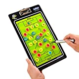 Jalunth Football Tactic Coaching Magnetic Board – Portable Compact Double Side Strategy Clipboards Tool Kit with Dry Erase Marker Pen, Eraser