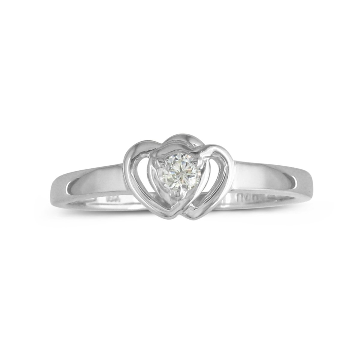 Sterling Silver Diamond Double Heart Promise Ring