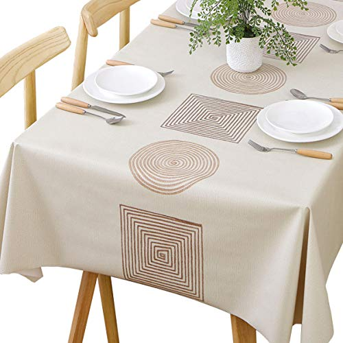JZY Heavy Duty Vinyl Table Cloth for Kitchen Dining Table Wipeable PVC Tablecloth for Rectangle Table(54″x78″,Geometry)