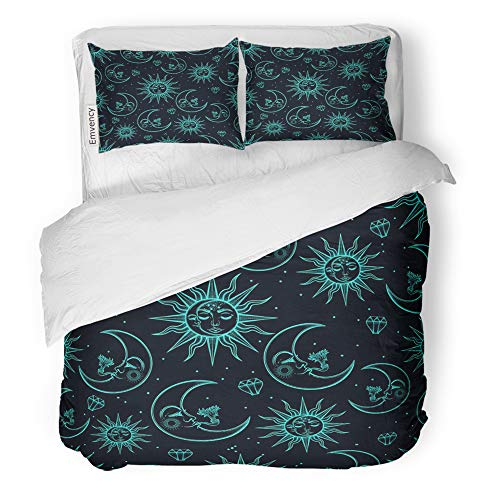 Emvency Decor Duvet Cover Set King Size Space Vintage That Consists of Pictures The Sun Moon and Stars Design Face Celestial 3 Piece Brushed Microfiber Fabric Print Bedding Set Cover -