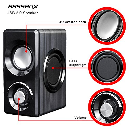 BASSBOX USB 2.0 Channel Computer Speakers with Stereo Sound for Mac,PC,Laptop,Smart Phone and More by BASSBOX (Image #1)