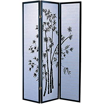 Roundhill Furniture Black Japanese  Panel Screen Room Divider Plum Blossom