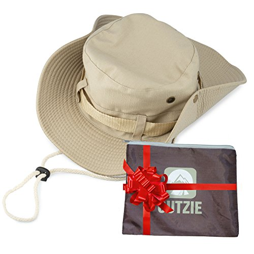 Wide Brim Packable Booney Sun Hat | Max Protection for UVA| Lightweight Cotton | Perfect for Fishing Gardening Hiking Camping The Beach and All Outdoor Activity | Bonus Nylon Travel Bag (Tan, X-Large)