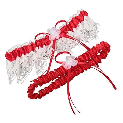 Miranda's Bridal Women's Lace Edge Bridal Garters Wedding Garters with Ribbons Red 2