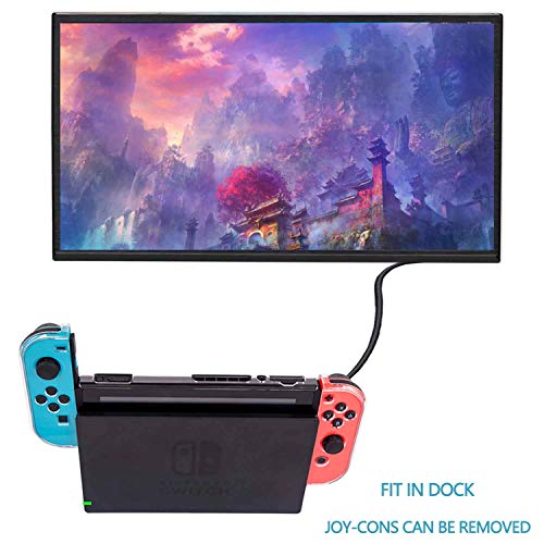 YOOWA 3 in 1 Nintendo Switch Dockable Case - [Newest Version] Clear Protective Cover Case for Nintendo Switch and Joy-Con Controllers w/8 Thumb Grips Caps and Nintendo Switch Screen Protector - Clear