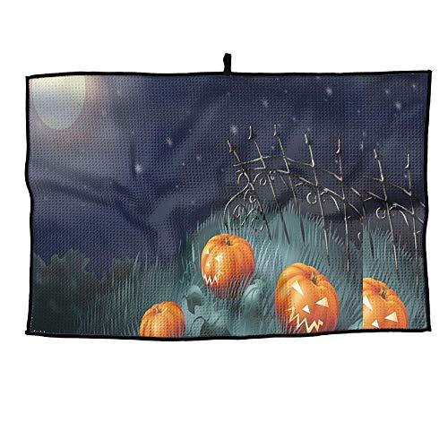 HenSLK Halloween Pumpkin Moon Soft Waffle Towel Microfiber Cooling Golf Towel for Travel,Sports, Workout, Fitness, Gym, Yoga, Pilates, Travel, ()