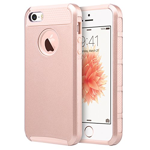 UARMOR Case for Apple iPhone SE / iPhone 5S / iPhone 5, Slim Fit Protection Hybrid Case Shockproof Hard Rugged Protective Back Rubber Cover with Dual Layer Impact Protection, Rose Gold
