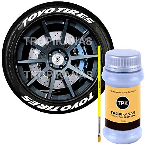 Tinta Branca Pintar Pneu Caneta Pneu Carro Moto + Pincel
